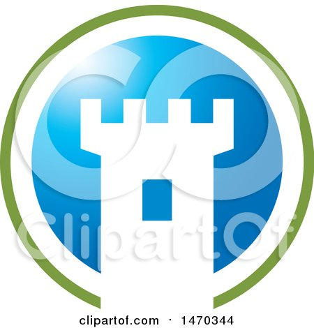 Clipart of a Green Blue and White Fortress Tower Icon - Royalty Free Vector Illustration by Lal Perera