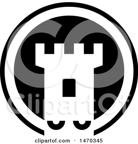 Clipart of a Black and White Fortress Tower Icon - Royalty Free Vector Illustration by Lal Perera