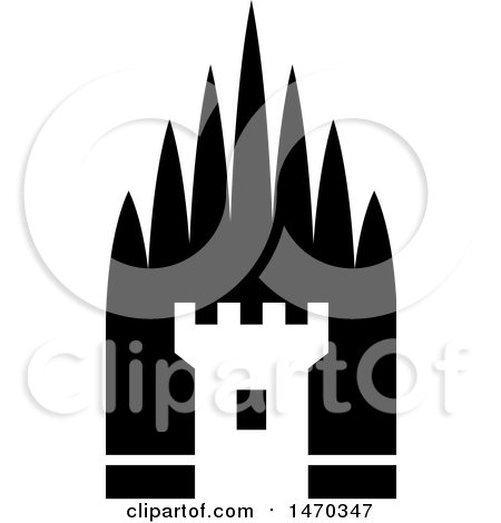 Clipart of a Black and White Fortress Tower - Royalty Free Vector Illustration by Lal Perera
