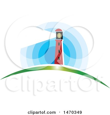 Clipart of a Lighthouse with a Shining Beacon - Royalty Free Vector Illustration by Lal Perera