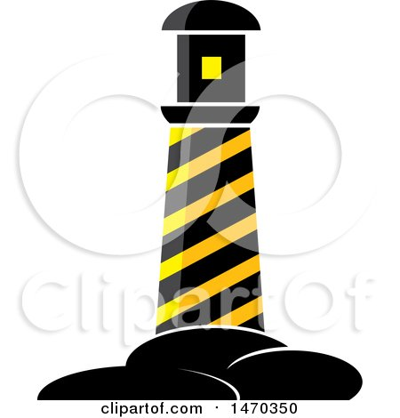 Clipart of a Black and Yellow Hazard Stripes Lighthouse - Royalty Free Vector Illustration by Lal Perera