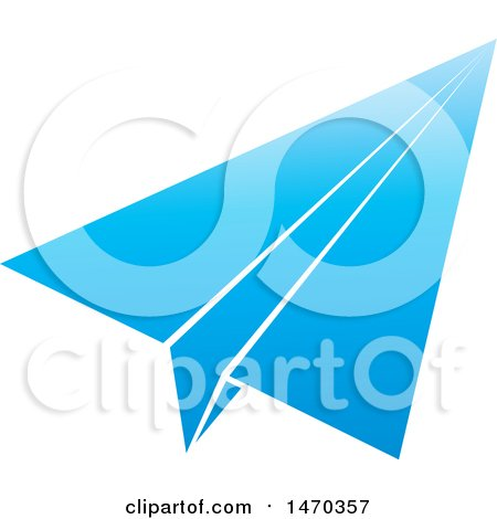 Clipart of a Blue Paper Airplane - Royalty Free Vector Illustration by Lal Perera