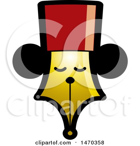 Clipart of a Pen Nib with a Face - Royalty Free Vector Illustration by Lal Perera