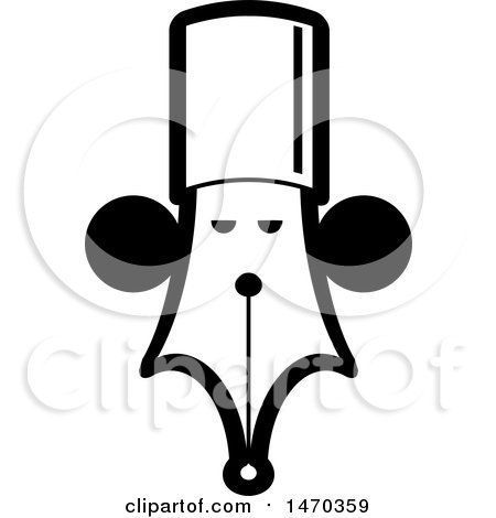 Clipart of a Black and White Pen Nib with a Face - Royalty Free Vector Illustration by Lal Perera