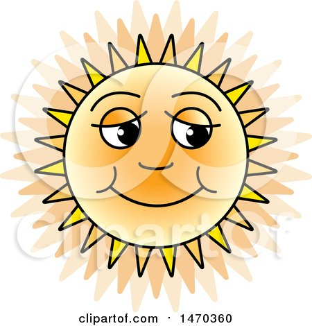 Clipart of a Happy Sun - Royalty Free Vector Illustration by Lal Perera