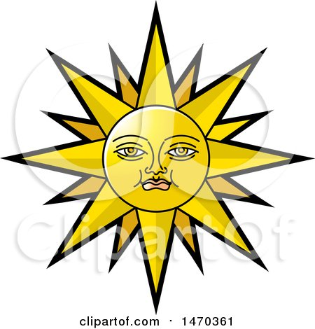 Clipart of a Sun with a Face - Royalty Free Vector Illustration by Lal Perera