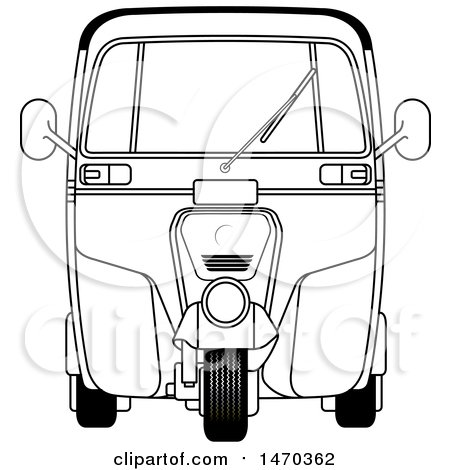 Clipart of a Grayscale Tuk Tuk Auto Rickshaw - Royalty Free Vector Illustration by Lal Perera