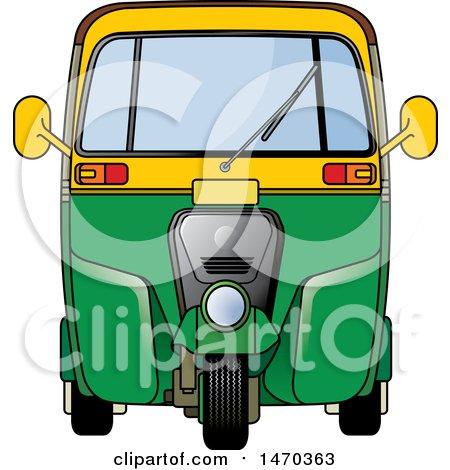 Clipart of a Yellow and Green Tuk Tuk Auto Rickshaw - Royalty Free Vector Illustration by Lal Perera