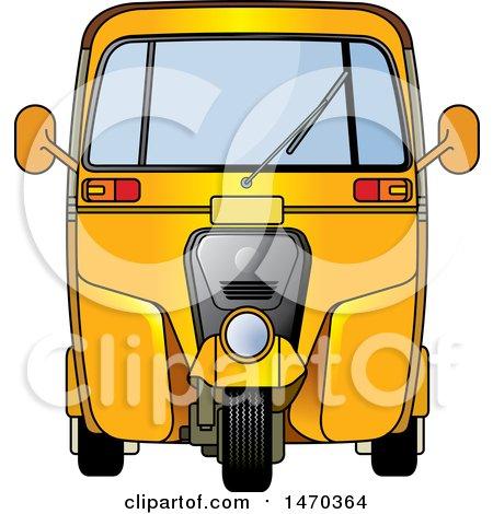 Clipart of a Yellow Tuk Tuk Auto Rickshaw - Royalty Free Vector Illustration by Lal Perera
