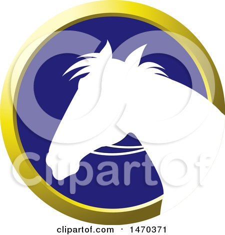 Clipart of a White Silhouetted Horse Head in a Gold and Blue Circle - Royalty Free Vector Illustration by Lal Perera