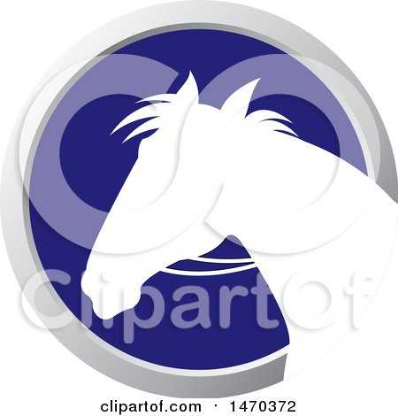Clipart of a White Silhouetted Horse Head in a Silver and Blue Circle - Royalty Free Vector Illustration by Lal Perera