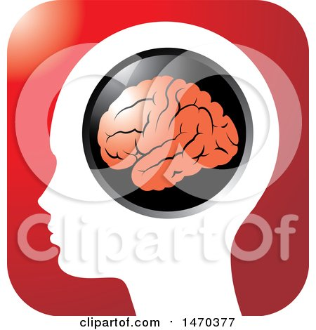 Clipart of a Profiled Head with a Visible Brain on a Red Icon - Royalty Free Vector Illustration by Lal Perera