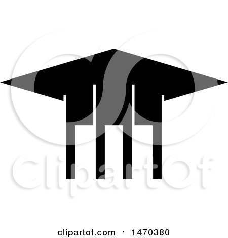 Clipart of a Black and White Graduation Cap - Royalty Free Vector Illustration by Lal Perera