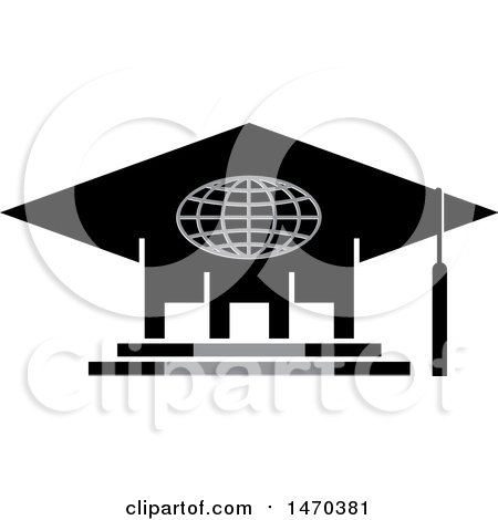 Clipart of a Graduation Cap Building - Royalty Free Vector Illustration by Lal Perera