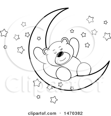 Clipart of a Black and White Bear Sleeping on a Crescent Moon - Royalty Free Vector Illustration by Lal Perera