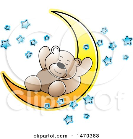 Clipart of a Bear Sleeping on a Crescent Moon - Royalty Free Vector Illustration by Lal Perera