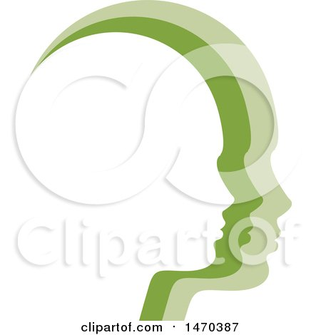 Clipart of Green Profiled Faces - Royalty Free Vector Illustration by Lal Perera