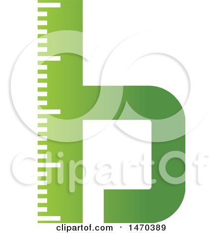 Clipart of a Green Letter B Ruler Design - Royalty Free Vector Illustration by Lal Perera