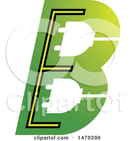 Clipart of a Green Letter B Design - Royalty Free Vector Illustration by Lal Perera