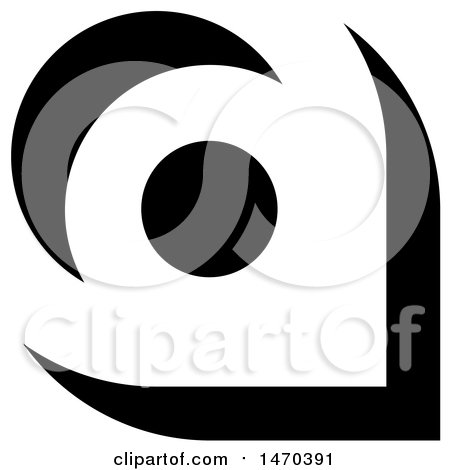 Clipart of a Black and White Abstract Letter a Design - Royalty Free Vector Illustration by Lal Perera