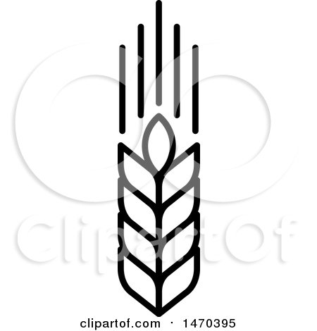 Clipart of a Wheat Stalk in Black and White - Royalty Free Vector Illustration by Lal Perera