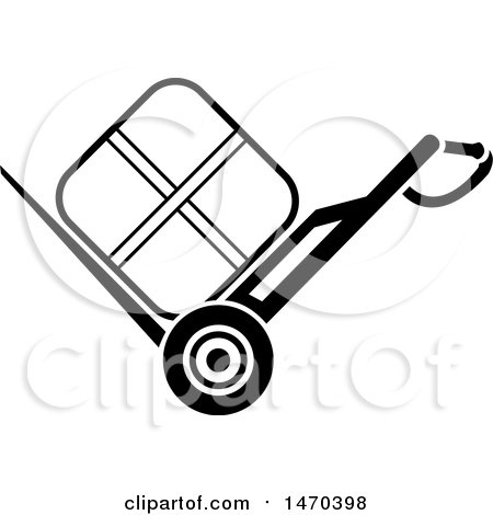 Clipart of a Black and White Package on a Dolly - Royalty Free Vector Illustration by Lal Perera