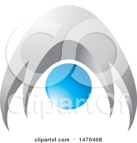 Clipart of a Silver and Blue Abstract People or Person Bending over - Royalty Free Vector Illustration by Lal Perera