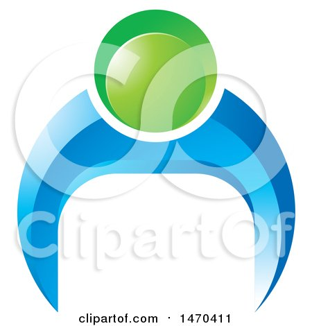 Clipart of a Blue and Green Person Doing Push Ups - Royalty Free Vector Illustration by Lal Perera