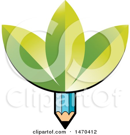 Clipart of a Blue Pencil with Green Leaves - Royalty Free Vector Illustration by Lal Perera