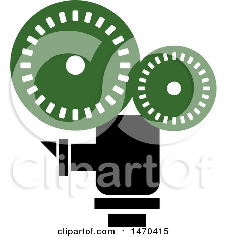 Clipart of a Green and Black Cinema Camera - Royalty Free Vector Illustration by Lal Perera