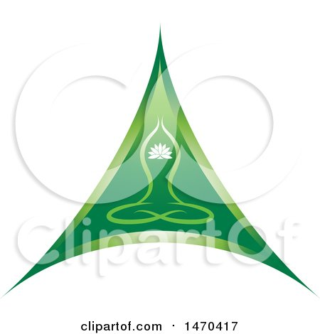 Clipart of a Green Triangle with a Yoga Person - Royalty Free Vector Illustration by Lal Perera