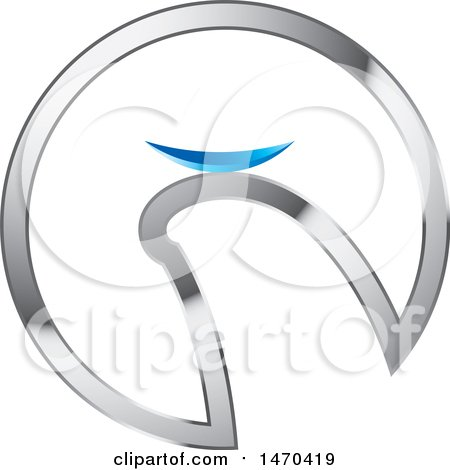 Clipart of a Silver Circle with a Finger Holding a Contact Lense - Royalty Free Vector Illustration by Lal Perera