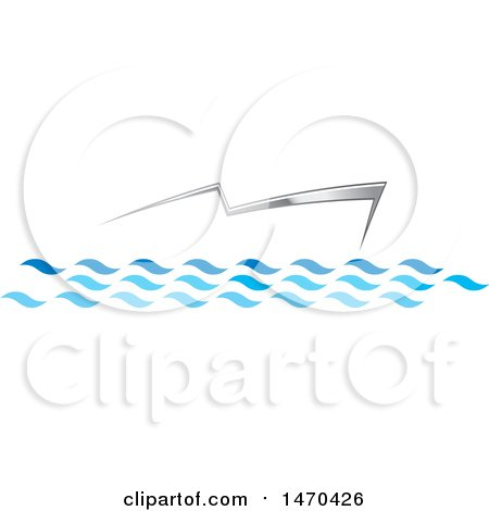 Clipart of a Silver Abstract Boat on Water - Royalty Free Vector Illustration by Lal Perera