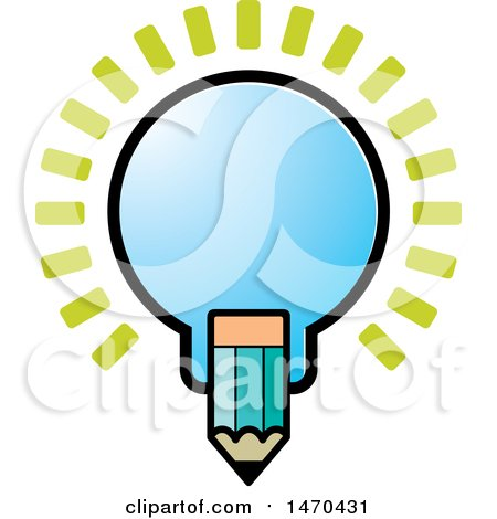Clipart of a Light Bulb and Pencil - Royalty Free Vector Illustration by Lal Perera