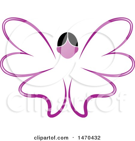 Clipart of a Female Face and Purple Butterfly Wings - Royalty Free Vector Illustration by Lal Perera