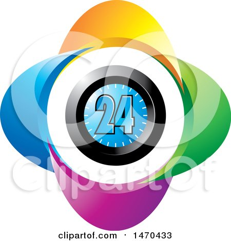 Clipart of a Colorful Clock with 24 on the Face - Royalty Free Vector Illustration by Lal Perera