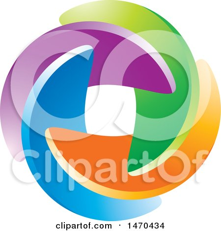 Clipart of a Colorful Circle Made of Swooshes - Royalty Free Vector Illustration by Lal Perera