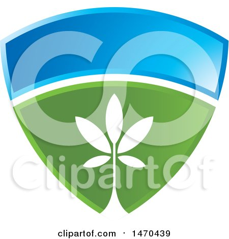 Clipart of a Blue and Green Shield with a Plant - Royalty Free Vector Illustration by Lal Perera