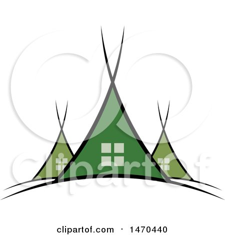 Clipart of a Green Tent Design - Royalty Free Vector Illustration by Lal Perera
