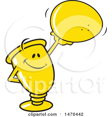 Clipart of a Trophy Mascot Holding up an Egg - Royalty Free Vector Illustration by Johnny Sajem