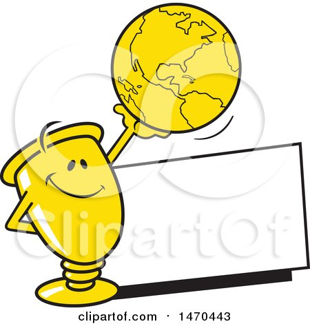 Clipart of a Trophy Mascot Holding up a Globe over a Blank Sign - Royalty Free Vector Illustration by Johnny Sajem