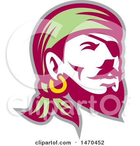 Clipart of a Retro Male Pirate Wearing a Banadana and Eye Patch - Royalty Free Vector Illustration by patrimonio