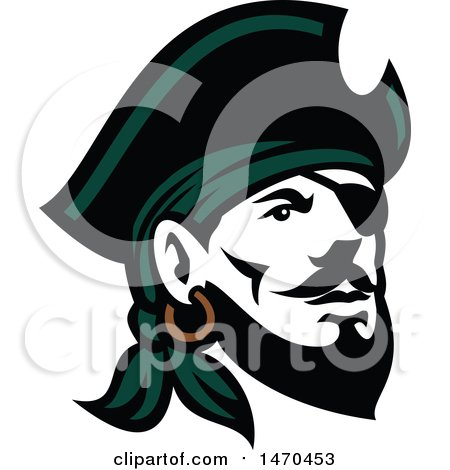 Clipart of a Retro Male Pirate Wearing a Hat and Eye Patch - Royalty Free Vector Illustration by patrimonio