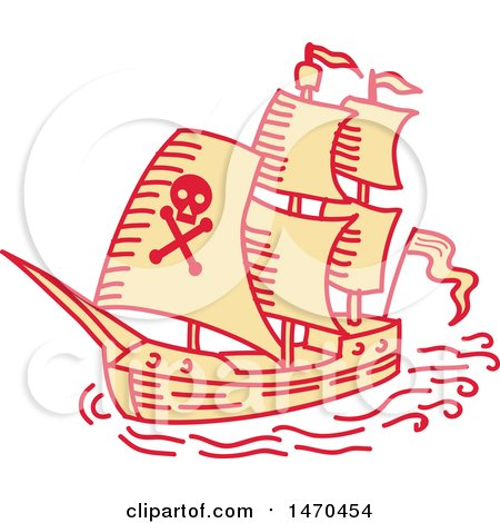 Clipart of a Pirate Ship in Mono Line Style - Royalty Free Vector Illustration by patrimonio