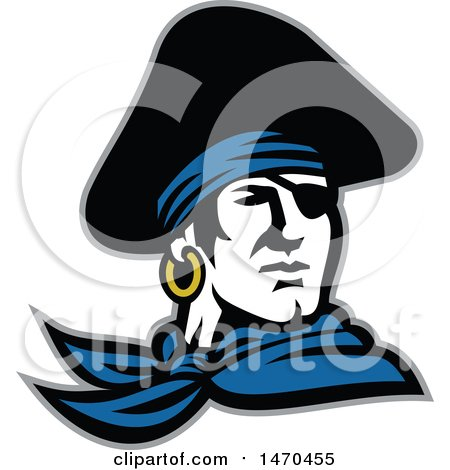 Clipart of a Retro Male Pirate Wearing a Tricorn Hat and Eye Patch - Royalty Free Vector Illustration by patrimonio