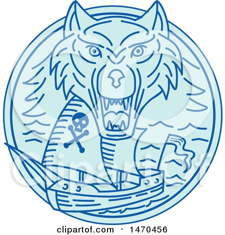 Clipart of a Blue Sea Wolf over a Pirate Ship in Line Art Style - Royalty Free Vector Illustration by patrimonio