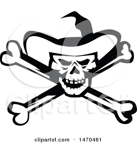 Clipart of a Black and White Cowboy Skull and Cross Bones - Royalty Free Vector Illustration by patrimonio