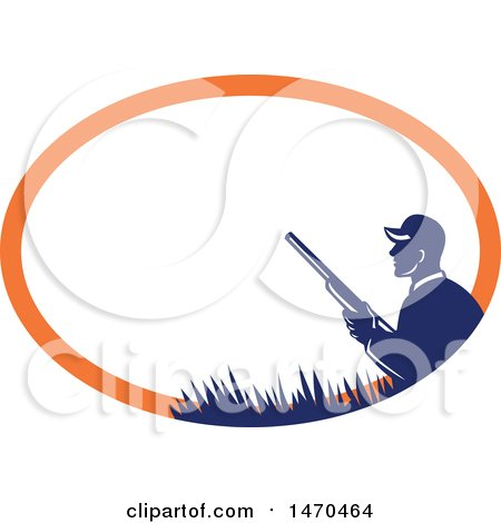 Clipart of a Silhouetted Duck Hunter Holding a Shotgun in a Blue and Orange Oval - Royalty Free Vector Illustration by patrimonio
