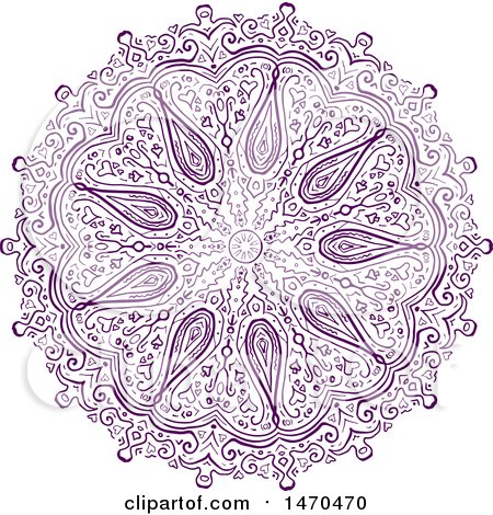 Clipart of a Purple Paisley Patterned Mandala - Royalty Free Vector Illustration by patrimonio