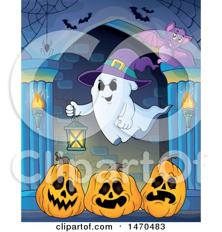 Clipart of a Halloween Ghost Holding a Lantern over Jackolantern Pumpkins in a Hallway - Royalty Free Vector Illustration by visekart